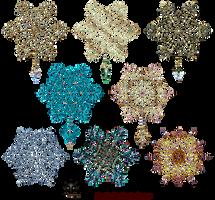 Snowflakes Gold Decor Elements 02