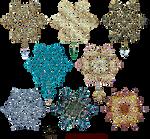 Snowflakes Gold Decor Elements 02 by Lyotta