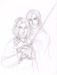 Azrael and Grace - sketch by ansuz