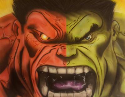 Red VS Green Hulk by diejango
