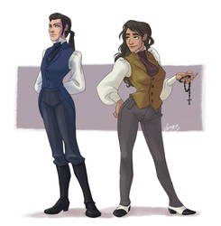 Rule 63! Mme Madeleine and Inspector Javert by vejiicakes