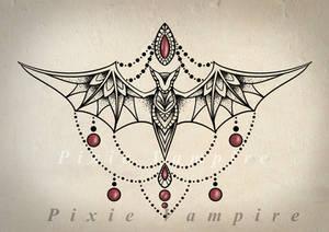 Underbyst Bat tattoo mandala Stencil