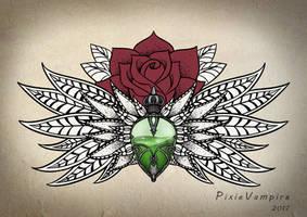 Mandala poison bottle rose Tattoo stencil
