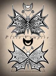 Moth butterfly dotwork tattoo design stencil