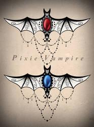 Bat mandala underboob tattoo design stencil