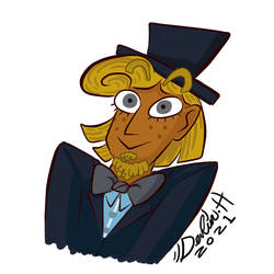 Alister Fallingbird but in a tophat.
