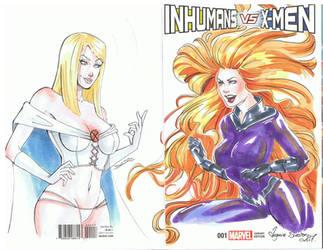 Blank Cover Inhumans VS X-men by VirginieSiveton