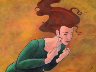 Woman Bowed Under A Heavy But Unseen Burden by puffbird