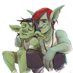 Two goblins by cumeoart