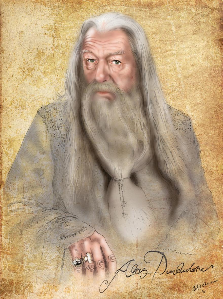 Harry Potter professor Dumbledore portrait by webmartin99