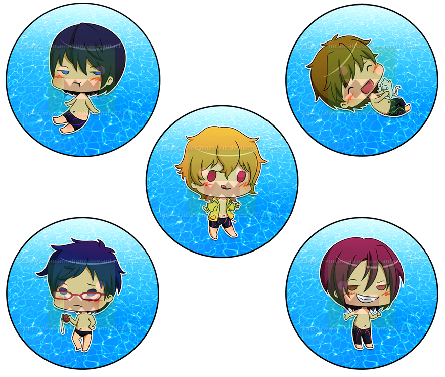 Free! (Swimming Anime) Buttons Set by reincarnationz