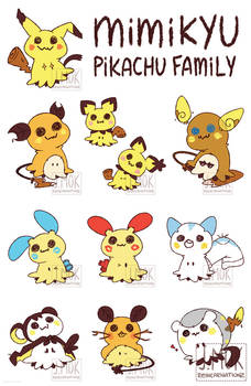 Pokemon: Mimi-chu Family (Print and Stickers)