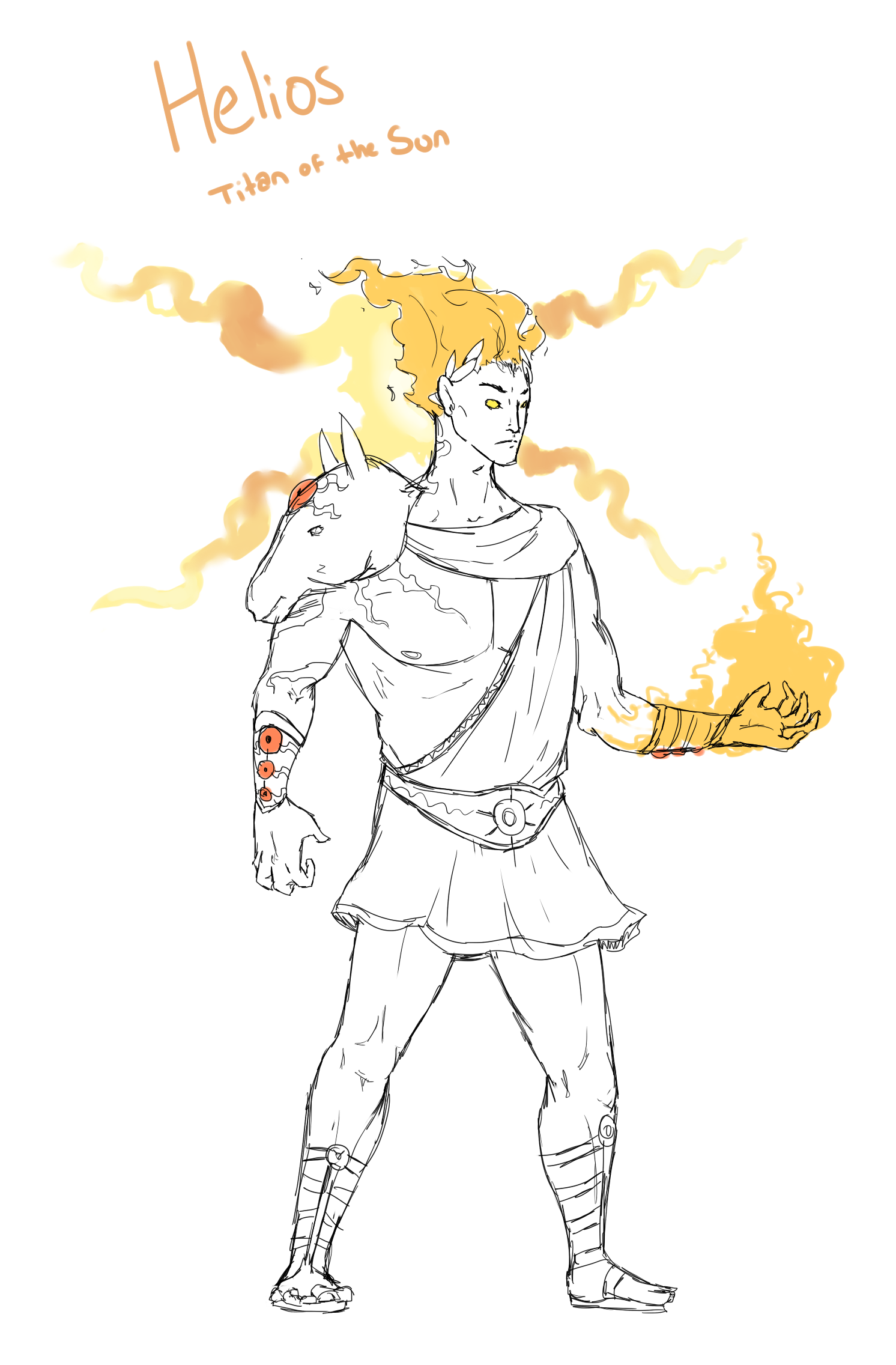 Helios Would Be A Bright Handsome Man With Flaming Hair And Clothed In Red Or Purple Golden Accented Armor The Dots All Over Him Are Eye Like Gems