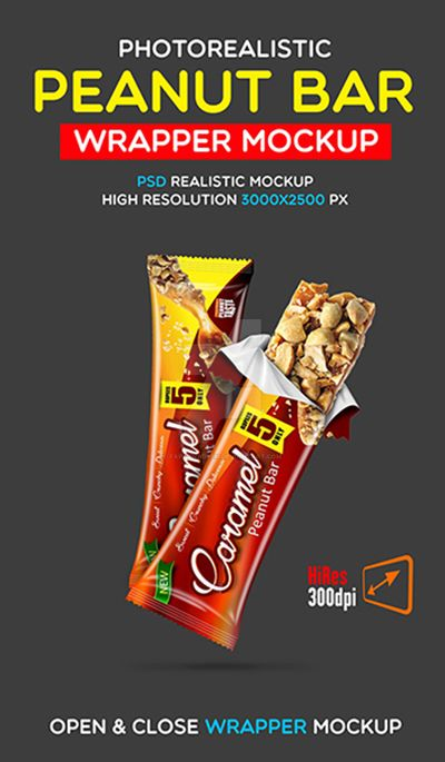 peanutchocolate bar wrapper design mock up by faraznadeem