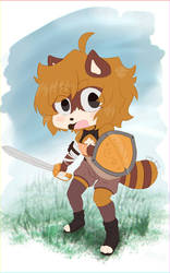 Un mapache valiente