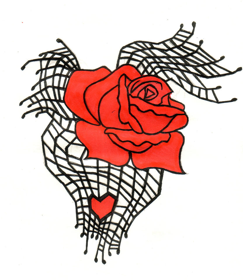 Spiderweb Rose Tattoo Design