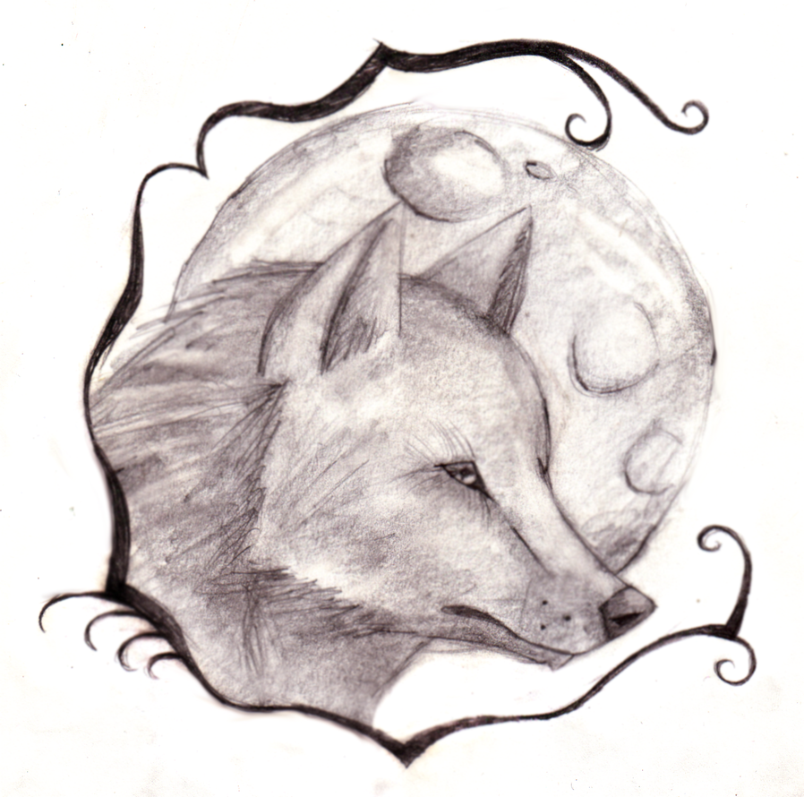 Wolf and Moon Tattoo Design by