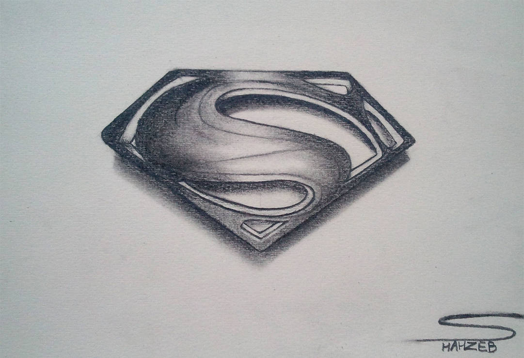 Man of steel logo pencil sketching by shaixey
