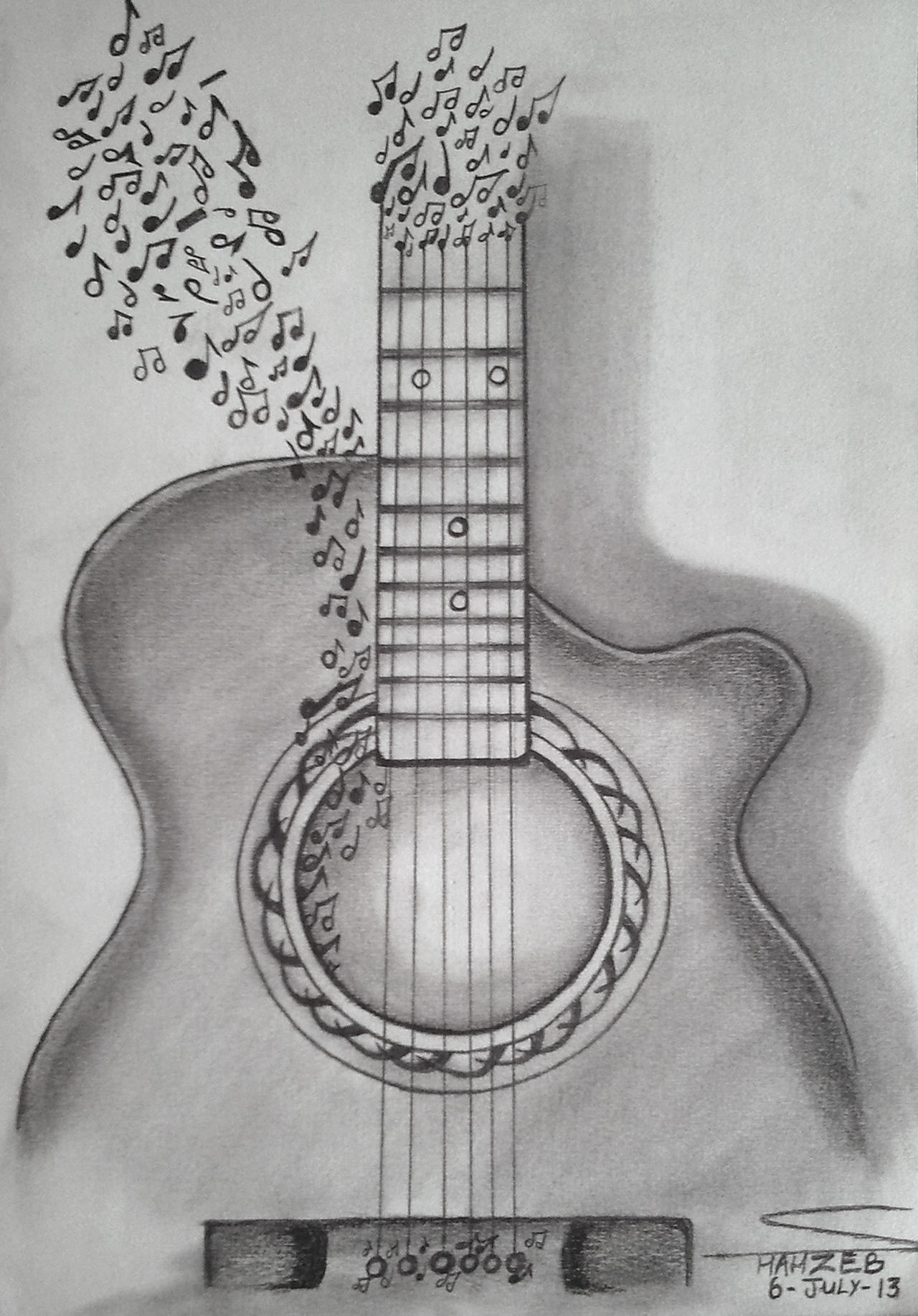 Guitar Is Music (Pencil Sketching) By Shaixey On DeviantArt