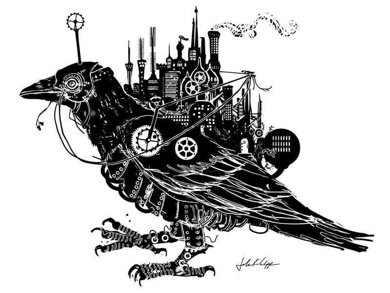 Steampunk Blackbird by Wystro