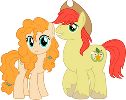 MLP Vector - Pear Butter and Bright Macintosh by jhayarr23