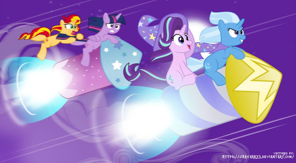 MLP Wallpaper - Rocket Race by jhayarr23