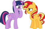 MLP Vector-Twilight Sparkle and Sunset Shimmer #3