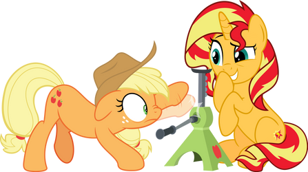 MLP Vector - Applejack and Sunset Shimmer by jhayarr23