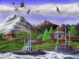 Water, Mountains, Boats, Birds by StephenL