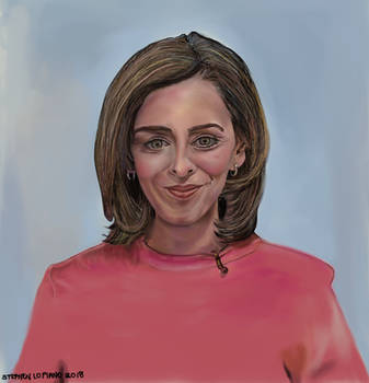 Painting of A DW News Broadcaster: Sarah Kelly.