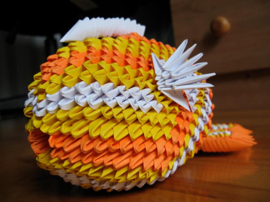 3d origami koi fish by origamigenius on deviantart for Origami koi fish tutorial