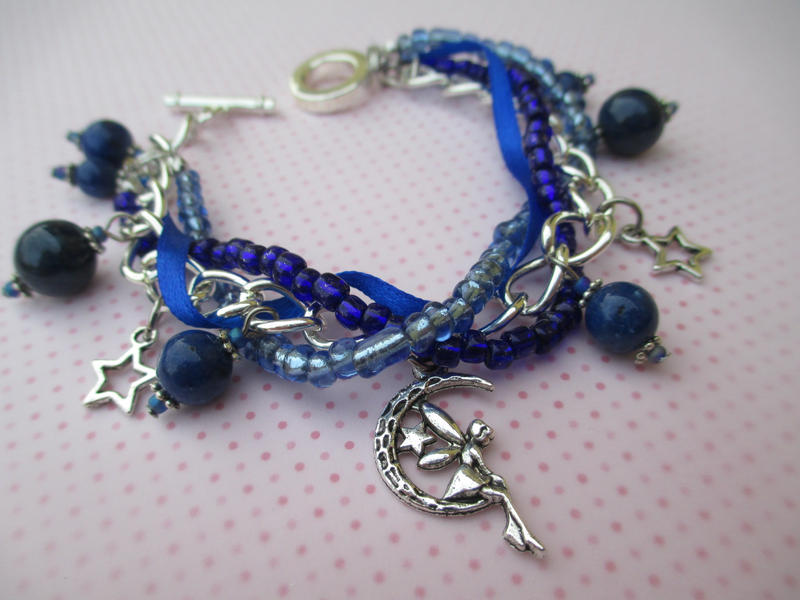 Midnight Blue Lapis Lazuli Bracelet with a Fairy by ExinaArt