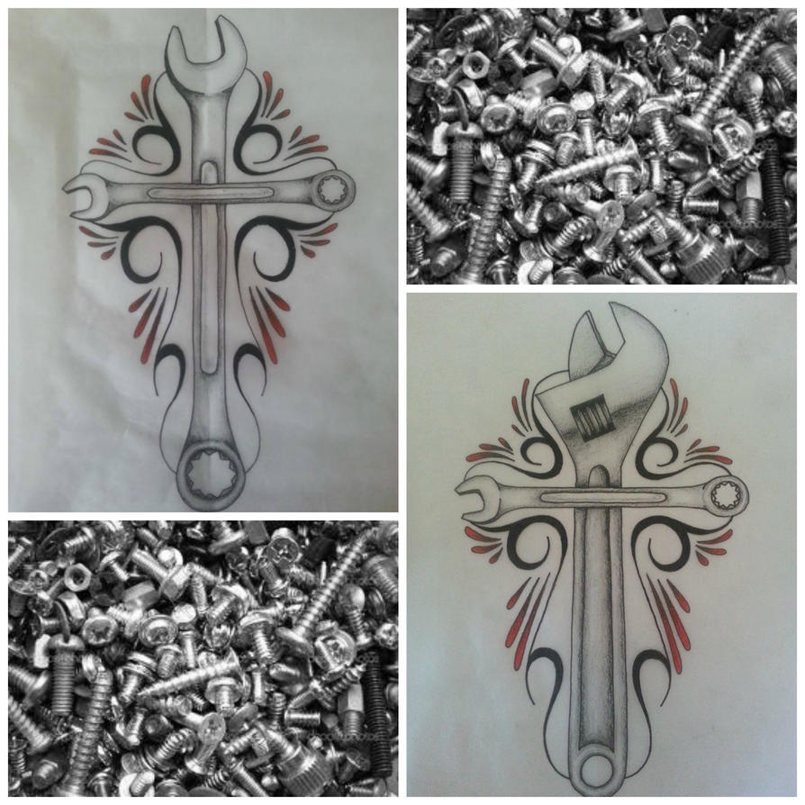 Piston and wrench tattoo designs