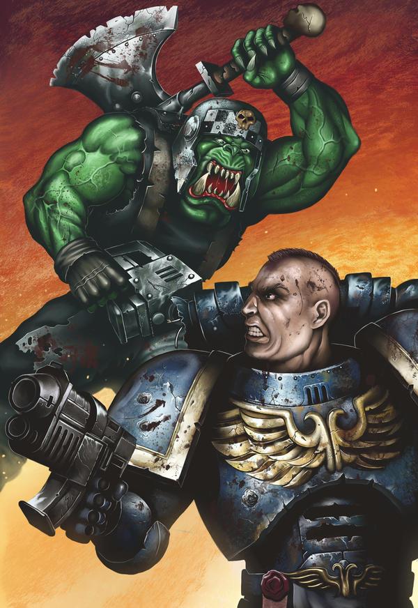 Marine vs Ork by malverro