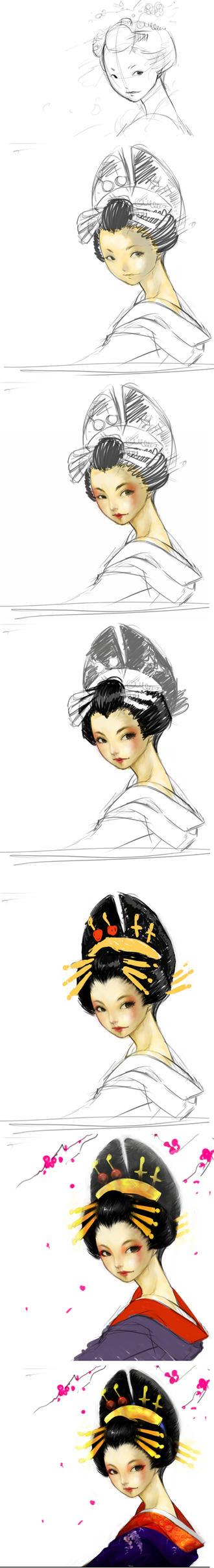 Painting 'Oiran' by pu
