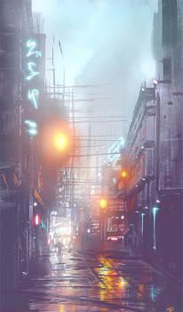 Rainy Alley Sketch