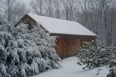 Barn in Snow by PixieTheCat