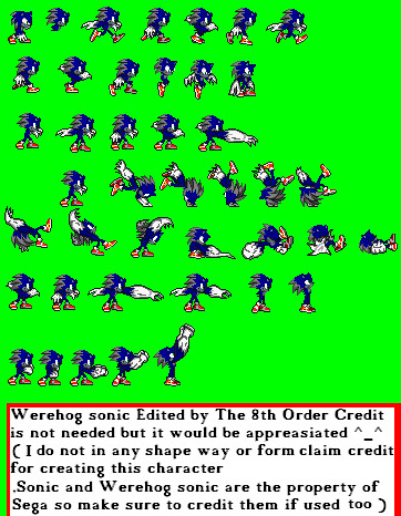 Werehog Sonic Sprite sheet by The8thOrder