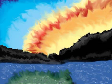 Sunrise behind  mountains