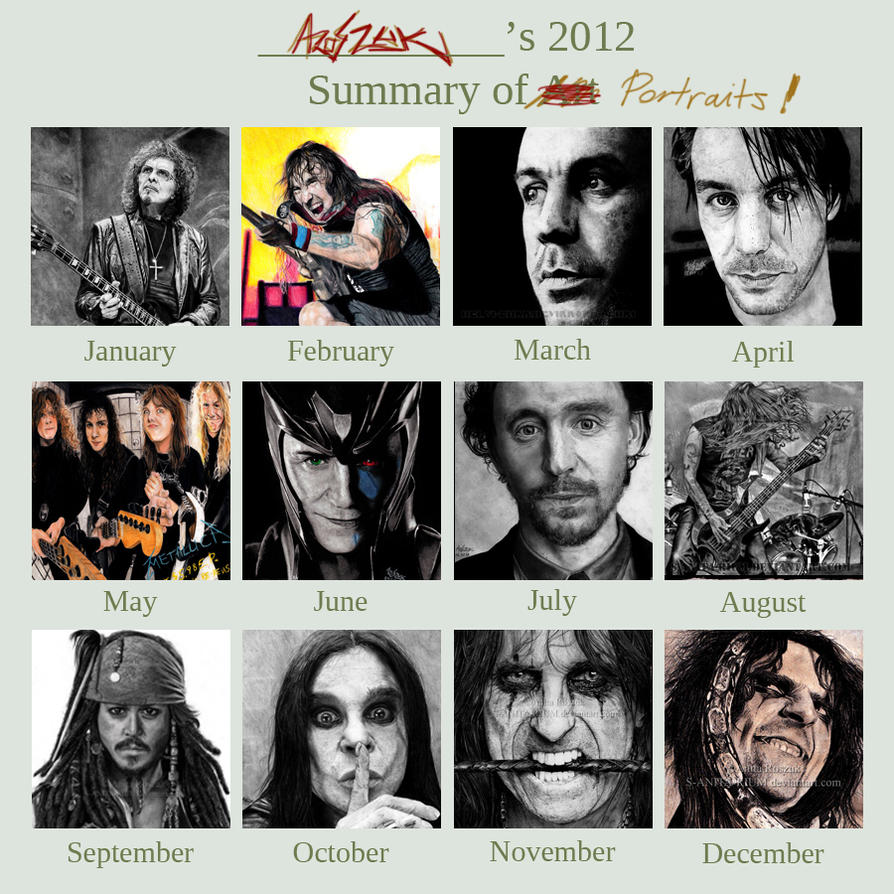 2012 SUMMARY OF PORTRAITS by Red-Szajn