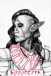 Inktober 2018  TES III: Morrowind: Nerevarine by Shamaanita
