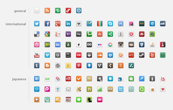 20px social icons by 1024jp