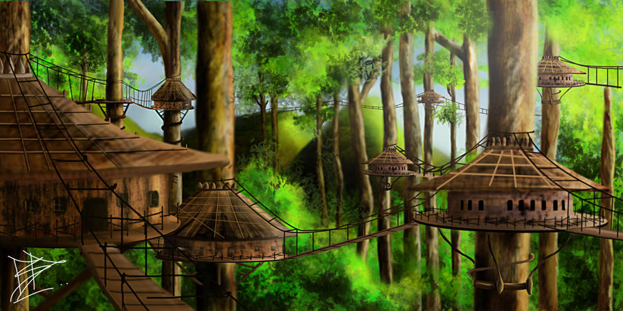 Image result for fantasy city in the trees