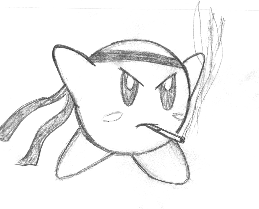 Kirby smoking and fighting by airportroad on deviantart for Cool but simple things to draw