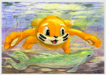 Buizel and big fish by SSsilver-c