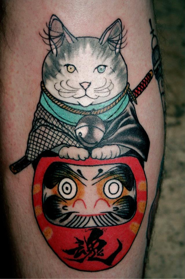 daruma samurai cat tattoo by lewisbuckleyart on deviantart. Black Bedroom Furniture Sets. Home Design Ideas