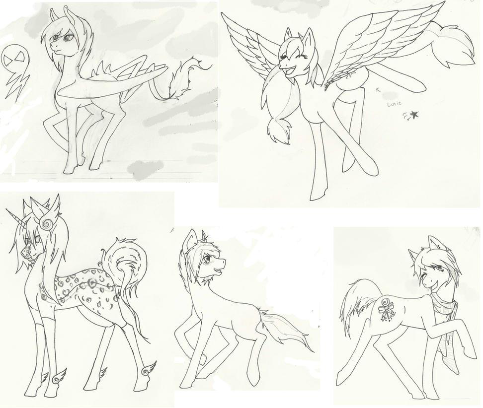 Pony Sketch Dump by LostyNoNam3