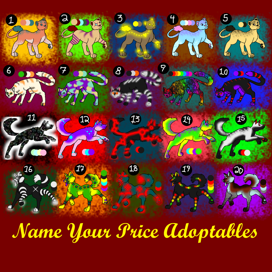 Name Your Own Price Adoptables by 2ninjabee2