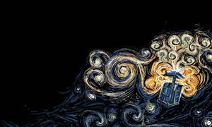 TARDIS Wallpaper Van Gogh Style.
