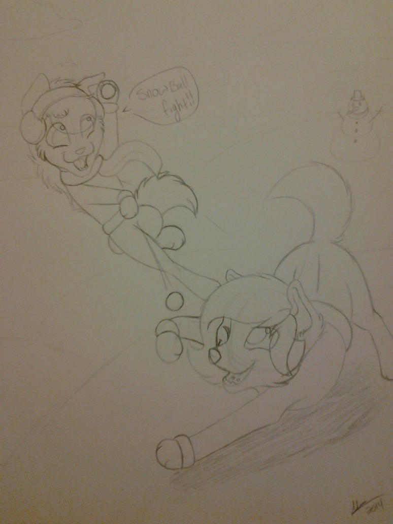 Snowball fight ! [traditional sketch] by Mzclueless